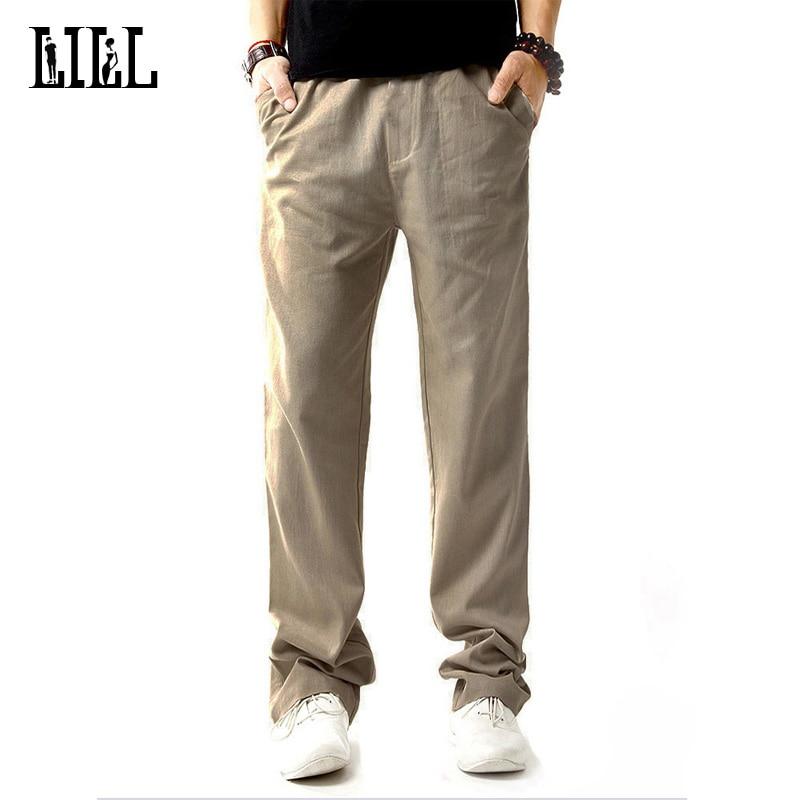 LILL | Health Linen Men Casual Pants Man 2017 Summer Breathable Slim Flax Thin Trousers Male Off White Hemp Cotton Pants,UMA344