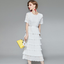 White Dress Summer 2019 Women's New Round Neck Short Sleeved Lace Edges Solid Color Slim Elegant Cake Dress Midi S-XL long sleeved dress women 2019 spring summer new simple stripes turn down collar slim a line casual elegant dress midi s xl