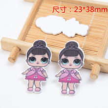 Newest Acrylic Big Eyes Cosplay Girl Charms For SLIME Rubber Band Hairpin Brooch Phone Decoration Jewelry(China)