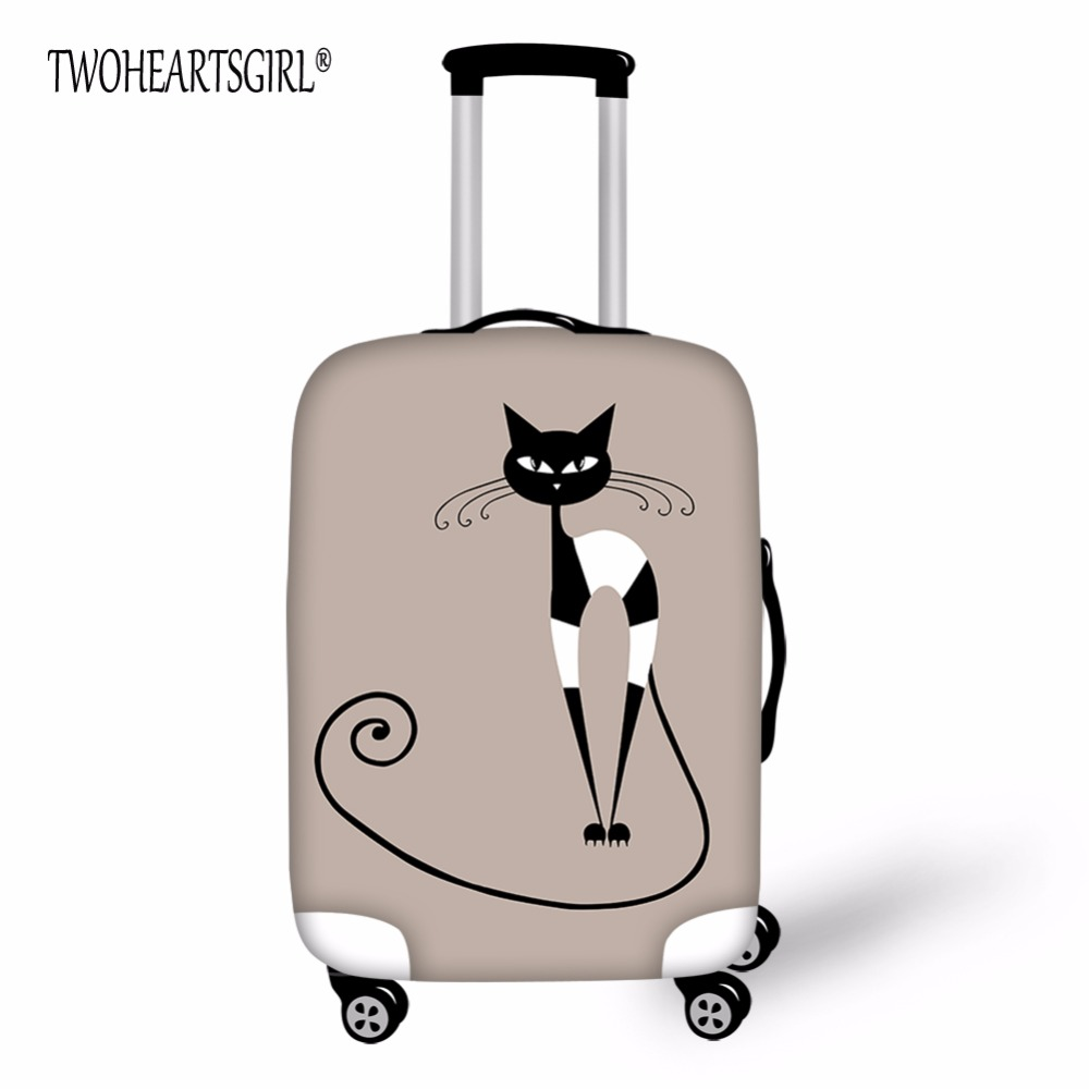 TWOHEARTSGIRL Lovely Cat Designer Luggage Cover Travel Waterproof Luggage Cover Portable Elastic Stretch Protect Suitcase Cover