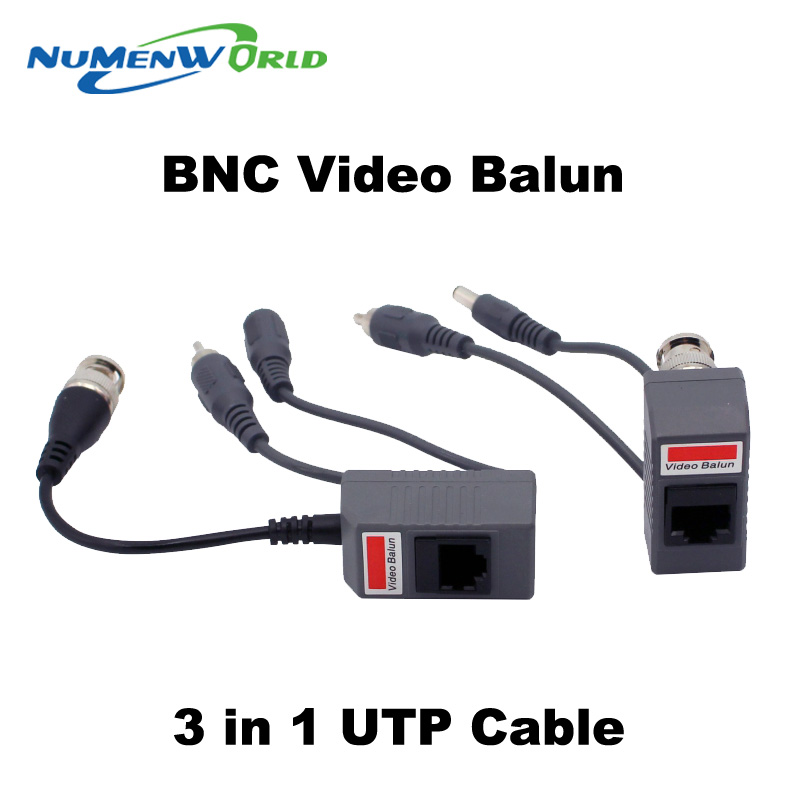 Hot UTP CCTV BNC video Balun power Passive Balun Rj45,POE Power Video Audio 3 in 1 Transceivers CCTV spare parts free ship