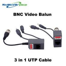 Горячая UTP видеонаблюдения BNC Balun мощность пассивный Balun rj45, Poe видео-аудио 3 в 1 приемопередатчики видеонаблюдения запасные части бесплатная доставка