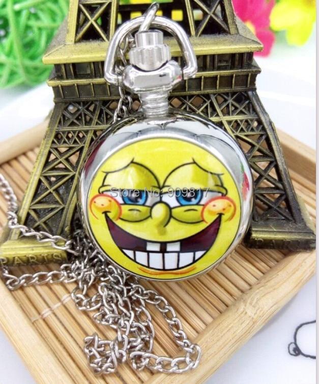Watches Animation Cartoon Spongebob Squarepants Necklace Quartz Pocket Watch Children Pendant Best Gift Good Qulilty