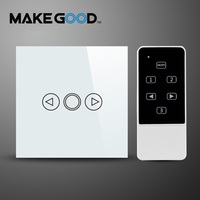 MAKEGOOD EU Standard Touch Switch 1 Gang 1 Way Crystal Glass Dimmer Switch With Remote Control