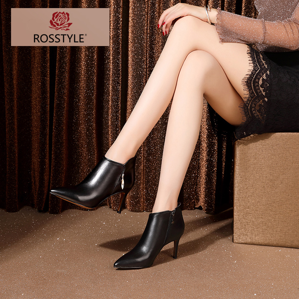 Elegante Frau D Winter Stiefelette Boot Reife Spitzschuh Leder Rosstyle Solide 2018 Short aus echtem Luxus Yb76gvfy