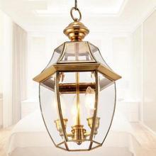 Домашняя 1 шт. большая Ретро медная Входная лампа стеклянный абажур подвесной кухонный светильник для балкона коридора крыльца лампа люстры Para Sala