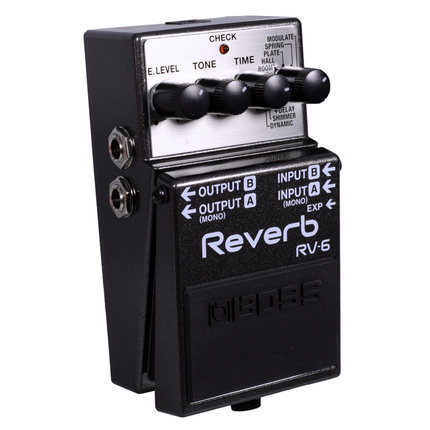 Boss Audio RV-6 Digital Reverb Pedal with 8 Reverb Modes, Expression Pedal Input, and Mono or Stereo Operation boss audio fv 50h high impedance volume pedal