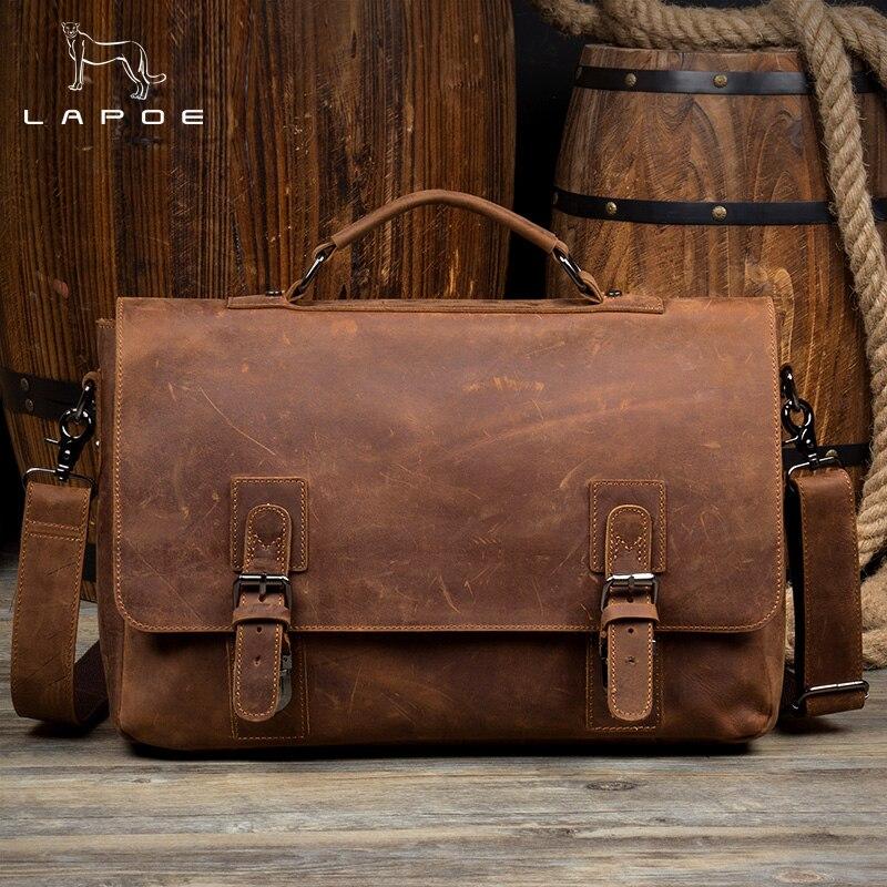 купить LAPOE Vintage Cowhide Genuine Leather Crossbody Bag For Men Shoulder Bags Business Men's Briefcase Handbags Messenger Bag недорого