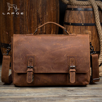 LAPOE Vintage Cowhide Genuine Leather Crossbody Bag For Men Shoulder Bags Business Men's Briefcase Handbags Messenger Bag