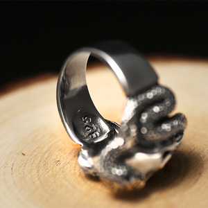 Image 3 - ZABRA 100% 925 Sterling Silver Skull Ring Men With Snake Big Punk Rock Gift For Biker Man Rings Silver Gothic Jewelry