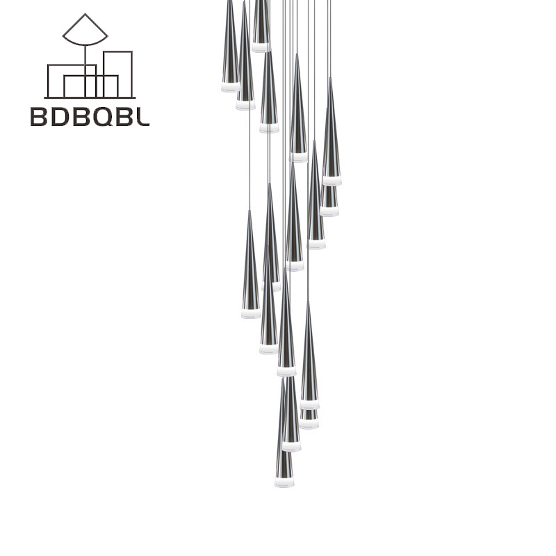 BDBQBL Modern LED Conical pendant light Aluminum&metal home/Industrial lighting Hang lamp Living room Bar Cafe Droplight Fixture стоимость
