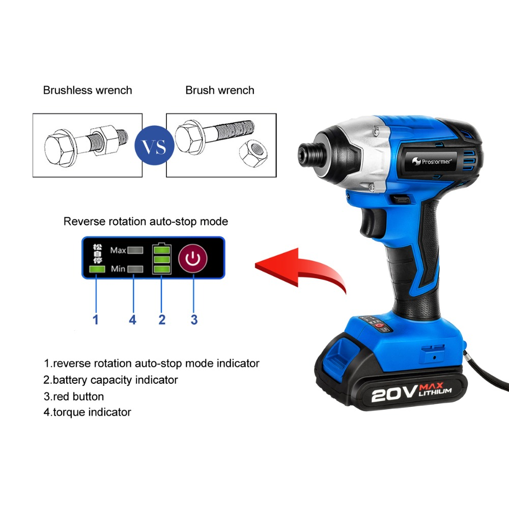 Image 4 - PROSTORMER 20V Electric Screwdriver Brushless Cordless Screwdriver Impact Drill 300NM Tool Bag Variable Speed Rechargeable Drill-in Electric Screwdrivers from Tools on