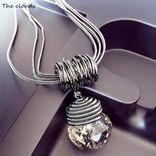 2017New Arrival Women Pendant Necklaces The Big Drop Long Paragraph Sweater Chain All-match DecorativeCrystal Necklace Pendant