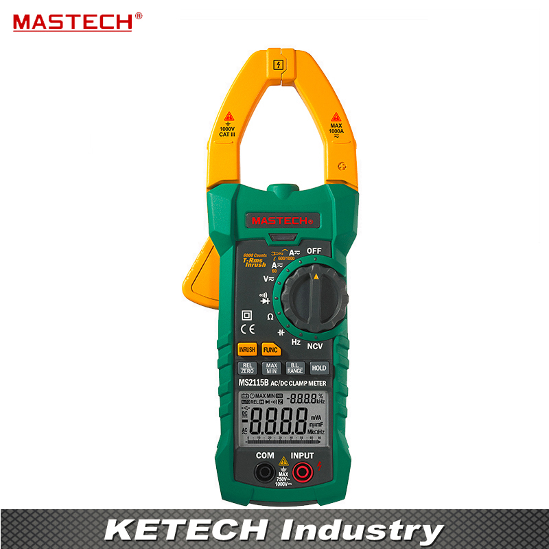DIGITAL CLAMP METERS DC/AC Voltage Current Resistance Capacitance Tester True RMS with USB Data Acquisition MASTECH MS2115B mastech ms2015b 6600 counts 1000a ac clamp meters w capacitance frequency temperature