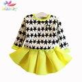 Belababy baby girl dress vestuário set 2017 primavera crianças padrão de estrela moletom + saia 2 pcs princesa crianças outfits roupas terno