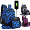 Рюкзак для мужчин и женщин с usb-зарядкой  3 шт./компл.  школьная сумка для мальчиков на одно плечо  сумка для книг  мужской повседневный рюкзак