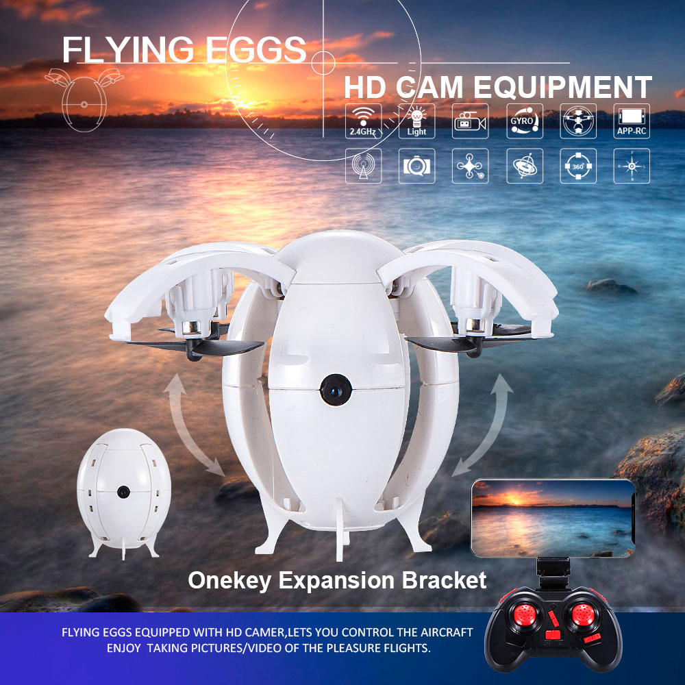 668-A6HW Foldable UAV Drone 2 4G WIIF Fly Egg with 0 3MP HD Camera One-Button Take-Off Quadcopter