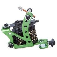 Light Weight Tattoo Gun Green Steel Professional Carbon Steel Tattoo Machine Gun Smooth Lines 8 Wraps Coils Liner Shader