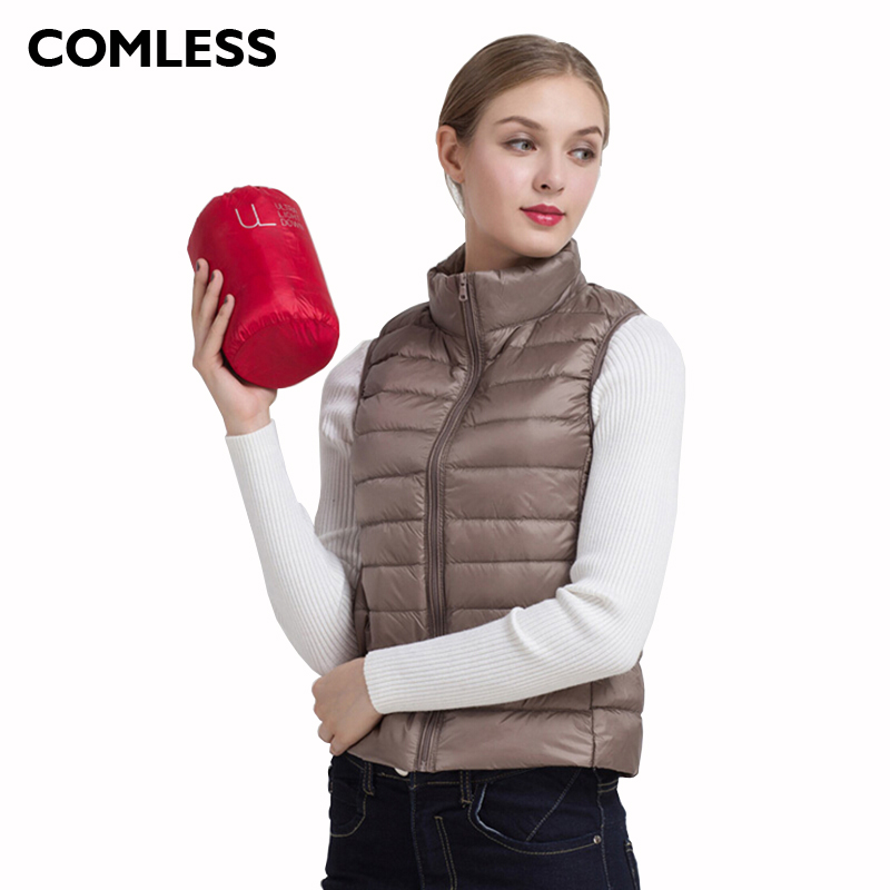 COMLESS Down Women Vest 15 Colors Ultralight Down Jacket with 90 Down 10 Feather Warm Vest