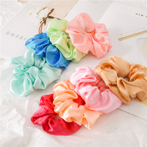 Image 3 - New 35 Pcs/Set Satin Hair Scrunchies Pack Women Elastic Hair Bands Girls Headwear Silky Ponytail Holder Solid Hair Accessories