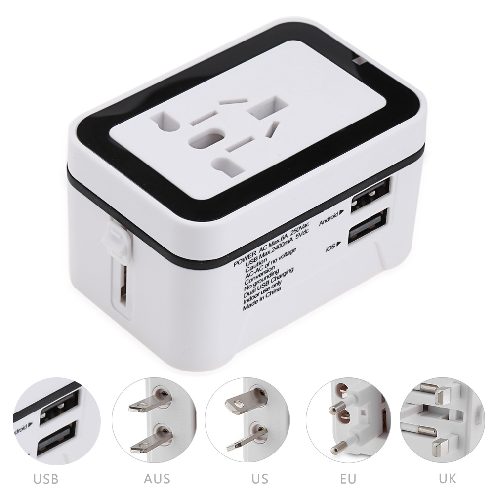 Universal Travel Adapter All in One Wall AC Power Plug Worldwide with 2 USB Ports international power adapter for US,EU,UK,AUS