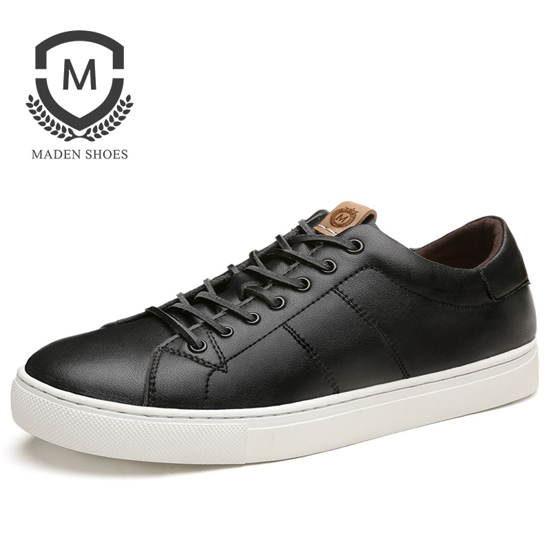 Maden Classic Nappa Men Sneakers Sporty Casual Shoes Basic Korean Style Solid Color Leather Sewing All-matching Black White korean style casual women s satchel with color matching and canvas design