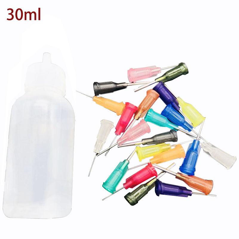 Transparent Polyethylene Needle Dispensing Dispenser Bottle For Rosin Solder Flux Paste + 11 Needles 30ml