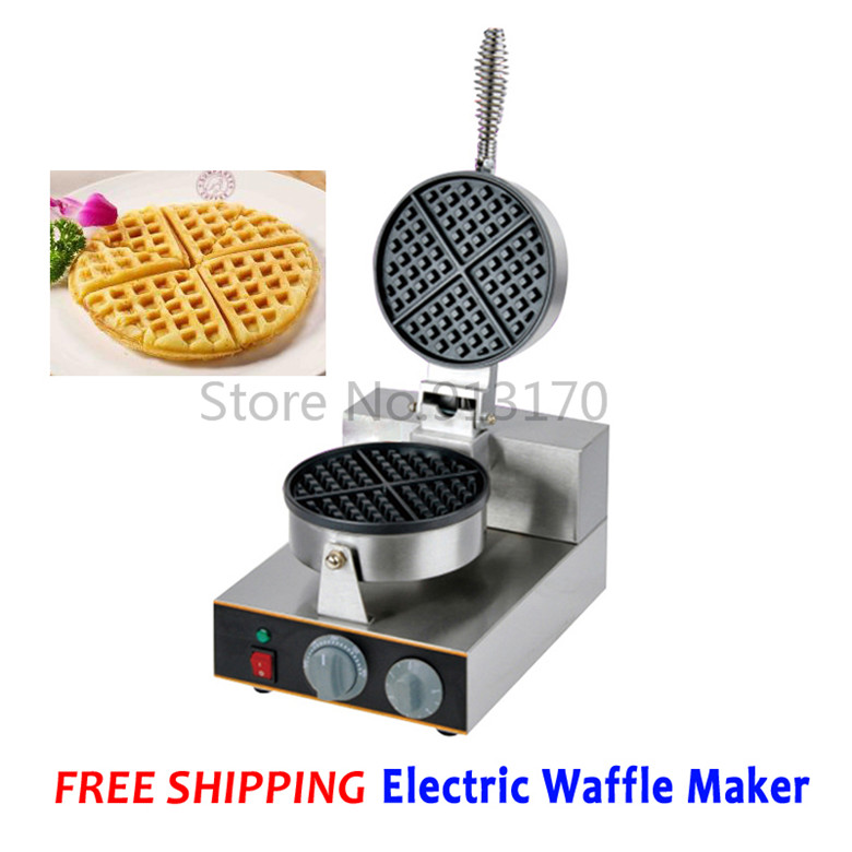 Free Shipping Commercial Electric Waffle Maker Single Head Kitchen Appliance Waffle Device Stainless Steel Stove directly factory price commercial electric double head egg waffle maker for round waffle and rectangle waffle