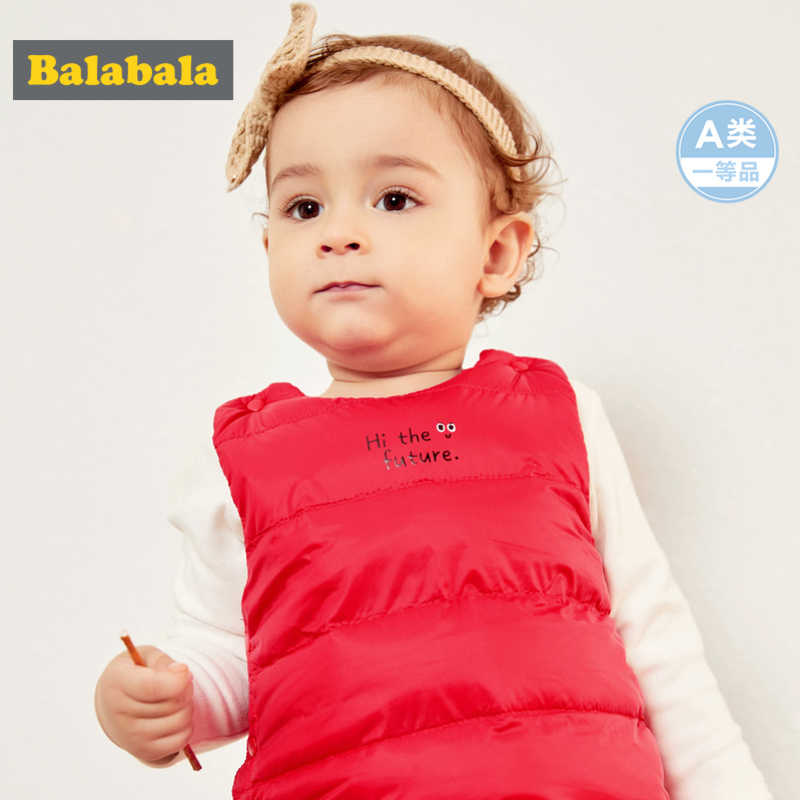Balabala Infant Baby Quilted Lightweight Down Vest Printed Newborn Baby Girl Boy Fitted Puffer Jacket Snap Closure Chinlon Lined