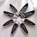 Новый женская обувь указал горный хрусталь PU лакированной кожи плоские обувь большой размер удобные мягкое дно женщины shoes34 40 41 42