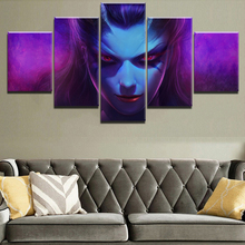Home Decor Painting Game Poster 5 Panel DotA 2 Queen Of Pain Modern Canvas Print Pictures Wall Cuadros Framework