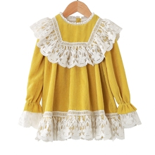 Dream Cradle Yellow Sweet Dress with Lace,Vintage Corduroy Baby Girls Spanish Style Frock  Winter Dresses
