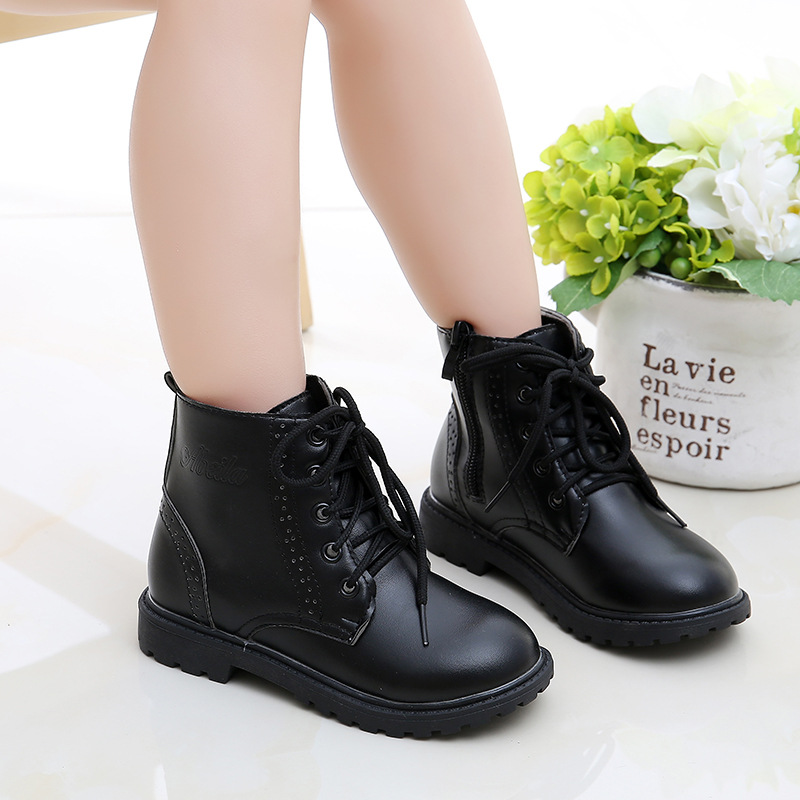 Autumn & Winter New Children's Leather Boots Girls Shoes Boys Snow Boots Children Martin Boots