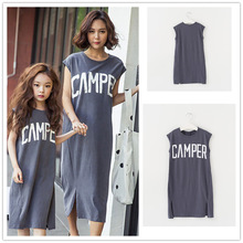 Summer Mother and Daughter Dress Sleeveless Letter Print Casual Midi Dresses mom and daughter dress Family Match Clothes C0223