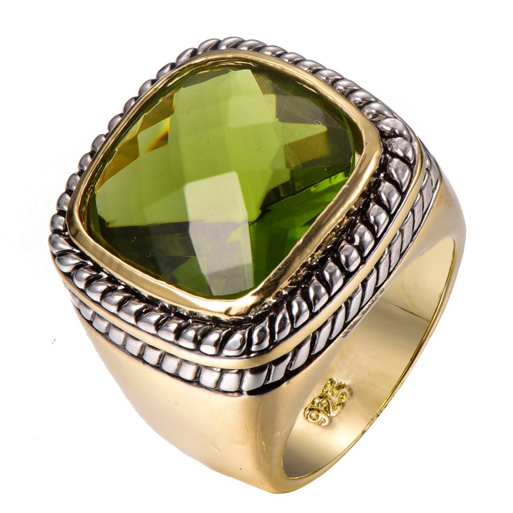 Factory price Huge Peridot Gold Filled Beautiful Ring Free Shipping Size 6 7 8 9 10 F1314