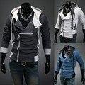 Envío Gratis 2017 Moda Casual Delgado Cardigan Assassins Creed Hoodies Hoodies Hombres Sudadera prendas de Vestir Exteriores Chaquetas Plus Tamaño xxxxl