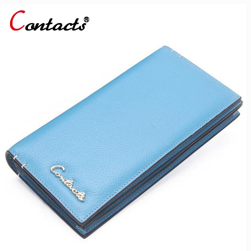 CONTACT'S Fashion Genuine Leather Women Wallets female purse long Design Clutch Purse Wallet Female Card Holder phone money bag 2017 unique design women fashion leather wallet leisure clutch bag long purse girl female portefeuille mme a8