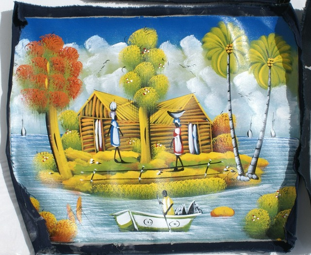 Wholesale Lot 5 Mixed Colorful Haitian Unframed Paintings on Canvas ...