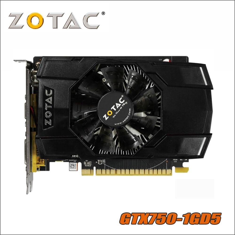 Оригинал ZOTAC видеокарта GeForce GTX 750 1 ГБ 128Bit GDDR5 Графика карты для nVIDIA GTX750-1GD5 Интернет VGA, Hdmi, Dvi TI