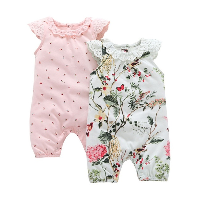 Newborn Baby Girl Princess Rompers Lace Flowers Jumpsuits Girls Clothes for Newborn Summer Baby Body Suits One-Pieces