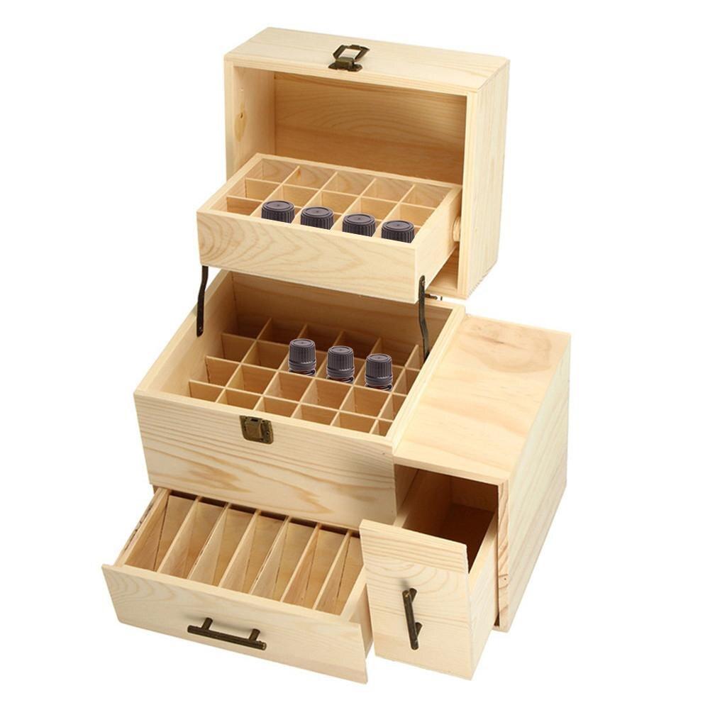 Boîte de rangement en bois 3 couches boîte de rangement organisateur de transport bouteilles d'huile essentielle conteneur d'aromathérapie serrure en métal bijoux trésor