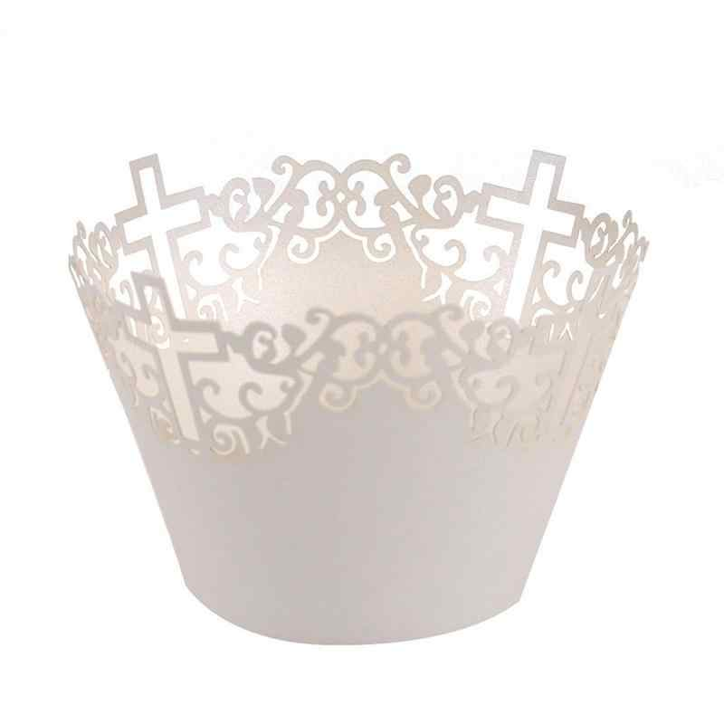 50pcs Filigrana Vine Lace Cruz Fora Bandejas de Bolo Envoltórios Do Queque Casos Muffin de Papel Xícara de Bicarbonato de Caso Wedding Party Decor