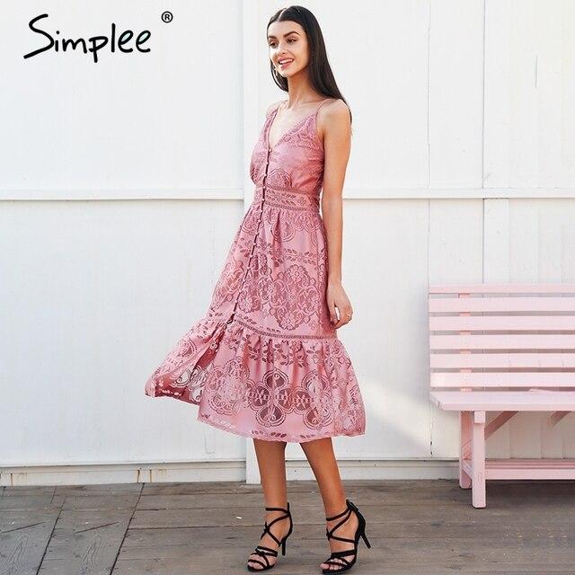 Simplee Strap backless lange zomer jurk vrouwen v-hals knop sexy kant jurk vrouwelijke Streetwear casual witte jurk vestidos 2018