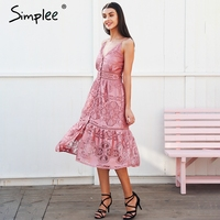 Simplee Strap Backless Long Summer Dress Women V Neck Button Sexy Lace Dress Female Streetwear Casual