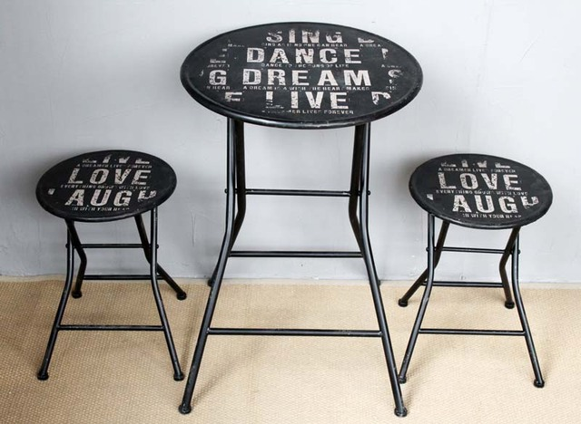 American French Country To Do The Old Retro Black Wrought Iron Bar Tables Chair Lounge Folding