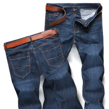 2017 Men Jeans Business Casual Thin Summer Straight Slim Fit Blue Jeans Stretch Denim Pants Trousers Classic Cowboys Young Man