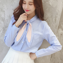 Korean Chiffon Women Tops And Blouse 2019 Fall spring Elegant OL Chiffon Blouse Women Long Sleeve Bow Tie Blouse Women 183i2 цена