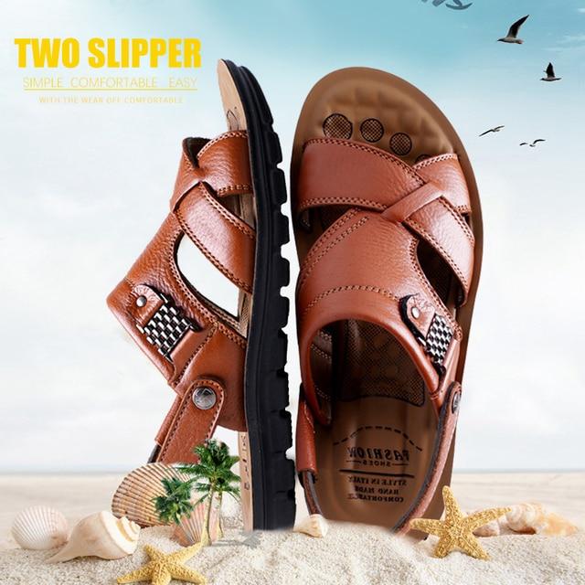 Grande tamanho 48 homens sandálias de couro verão clássico homens sapatos chinelos sandálias macias roman confortável sapatos de caminhada ao ar livre 3
