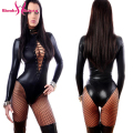 Sexy Plus Black Vinyl Leather Lingerie Bodysuit Women Erotic Long Sleeve Fishnet Leotard Costumes Catsuit Catwomen Costume S-2XL