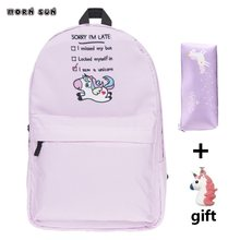 New 3pcs girl schoolbag Pink Unicorn Backpack Student waterproof school bag student laptop backpack meisjes rugzakken kids(China)